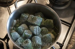 Adding frozen spinach to homemade fish food